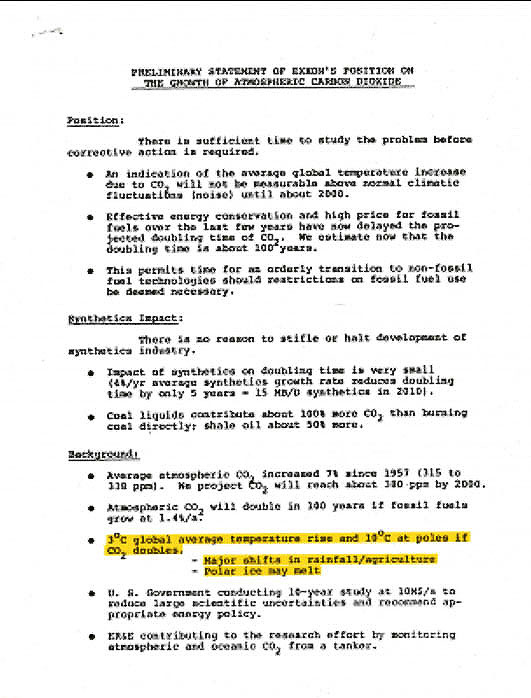 Scan of 1981 Exxon internal memo acknowledging the role of CO2 emissions in climate change